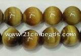 CTE131 15.5 inches 14mm round yellow tiger eye gemstone beads