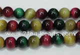 CTE133 15.5 inches 8mm round dyed tiger eye gemstone beads