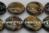 CTE1350 15.5 inches 20mm flat round yellow & blue tiger eye beads