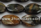 CTE1373 15.5 inches 18*25mm faceted oval yellow & blue tiger eye beads