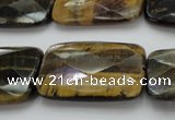 CTE1391 15.5 inches 25*35mm faceted rectangle yellow & blue tiger eye beads