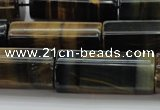 CTE1395 15.5 inches 15*40mm faceted tube yellow & blue tiger eye beads