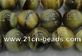 CTE1444 15.5 inches 12mm round golden & blue tiger eye beads