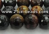 CTE1475 15.5 inches 14mm faceted round mixed tiger eye beads