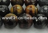 CTE1476 15.5 inches 16mm faceted round mixed tiger eye beads