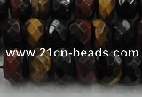 CTE1483 15.5 inches 7*12mm faceted rondelle mixed tiger eye beads