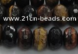 CTE1484 15.5 inches 8*14mm faceted rondelle mixed tiger eye beads