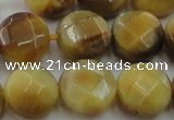 CTE1539 15.5 inches 16mm faceted coin golden tiger eye beads