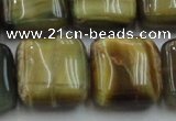 CTE1567 15.5 inches 18*18mm square golden & blue tiger eye beads wholesale