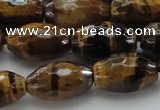 CTE1581 15.5 inches 10*14mm faceted rice yellow tiger eye beads