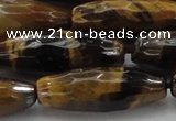 CTE1587 15.5 inches 10*30mm faceted rice yellow tiger eye beads