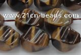 CTE1591 15.5 inches 12*16mm twisted rice yellow tiger eye beads