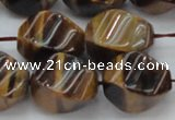 CTE1593 15.5 inches 15*20mm twisted rice yellow tiger eye beads