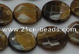 CTE1727 15.5 inches 16mm faceted coin yellow tiger eye beads