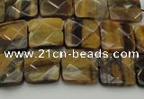 CTE1731 15.5 inches 10*10mm faceted square yellow tiger eye beads
