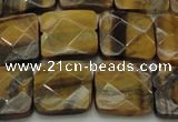 CTE1734 15.5 inches 15*15mm faceted square yellow tiger eye beads