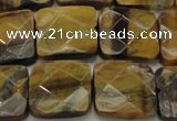 CTE1735 15.5 inches 18*18mm faceted square yellow tiger eye beads