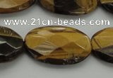 CTE1740 15.5 inches 18*25mm faceted oval yellow tiger eye beads