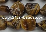 CTE1742 15.5 inches 16mm twisted coin yellow tiger eye beads