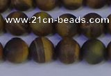 CTE1813 15.5 inches 10mm round matte yellow iron tiger beads