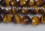 CTE1828 15.5 inches 8mm faceted round yellow tiger eye beads