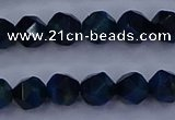 CTE1911 15.5 inches 6mm faceted nuggets blue tiger eye beads