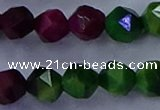 CTE1929 15.5 inches 12mm faceted nuggets colorful tiger eye beads