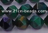CTE1949 15.5 inches 12mm faceted nuggets green tiger eye beads