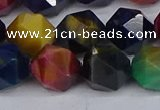 CTE1972 15.5 inches 12mm faceted nuggets mixed tiger eye beads