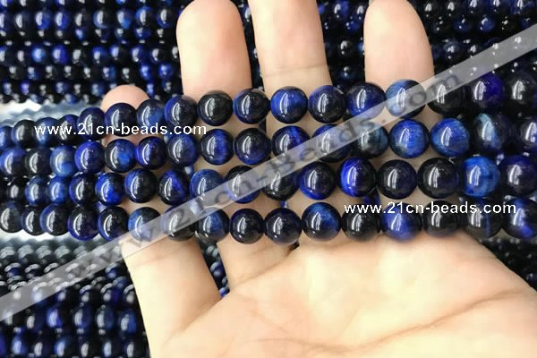CTE2037 15.5 inches 8mm round blue tiger eye beads wholesale