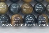 CTE2085 15.5 inches 6mm round AB-color blue & yellow tiger eye beads