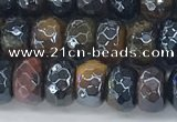 CTE2102 15.5 inches 5*8mm faceted rondelle AB-color mixed tiger eye beads
