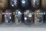 CTE2104 7*12mm faceted rondelle AB-color mixed tiger eye beads