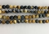 CTE2121 15.5 inches 8mm round golden & blue tiger eye beads