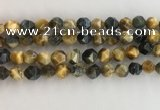 CTE2127 15.5 inches 10mm faceted nuggets golden & blue tiger eye beads
