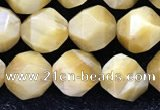 CTE2137 15.5 inches 10mm faceted nuggets golden tiger eye beads