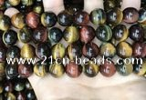 CTE2206 15.5 inches 16mm round mixed tiger eye gemstone beads