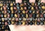 CTE2226 15.5 inches 6mm faceted round colorful tiger eye beads