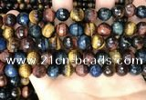 CTE2228 15.5 inches 10mm faceted round colorful tiger eye beads