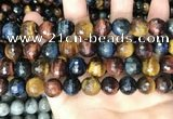 CTE2229 15.5 inches 12mm faceted round colorful tiger eye beads