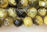 CTE2231 15.5 inches 4mm faceted round yellow tiger eye beads