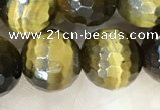 CTE2234 15.5 inches 10mm faceted round yellow tiger eye beads