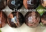 CTE2239 15.5 inches 10mm faceted round red tiger eye beads