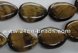 CTE307 15.5 inches 15*20mm flat teardrop yellow tiger eye gemstone beads