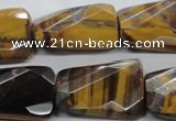 CTE319 20*30mm twisted & faceted rectangle yellow tiger eye beads