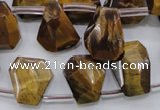 CTE409 Top-drilled 13*14mm faceted trapezoid yellow tiger eye beads