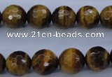 CTE424 15.5 inches 12mm faceted round yellow tiger eye beads