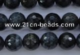 CTE444 15.5 inches 12mm faceted round blue tiger eye beads