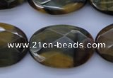 CTE450 15.5 inches 20*30mm faceted oval blue tiger eye beads