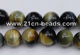 CTE553 15.5 inches 10mm round golden & blue tiger eye beads